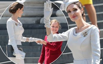 Angelina Jolie Wears an OVERSIZED Hat to Order of St. Michael & St. George Service