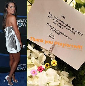Taylor Swift Sends Lea Michele a Note & Flowers Calling Her 'THE COOLEST' image