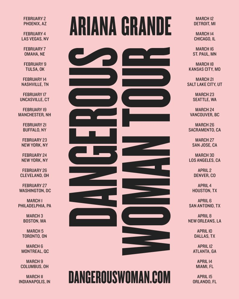 Ariana Grande Releases 2017 'DANGEROUS WOMAN' Tour Dates