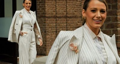Blake Lively Wears Elvis' Pantsuit While Promoting 'A Simple Favor'