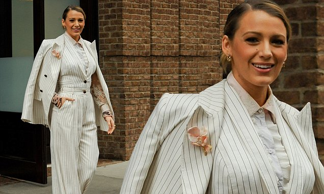 Blake Lively Wears Elvis' Pantsuit While Promoting'A Simple Favor'