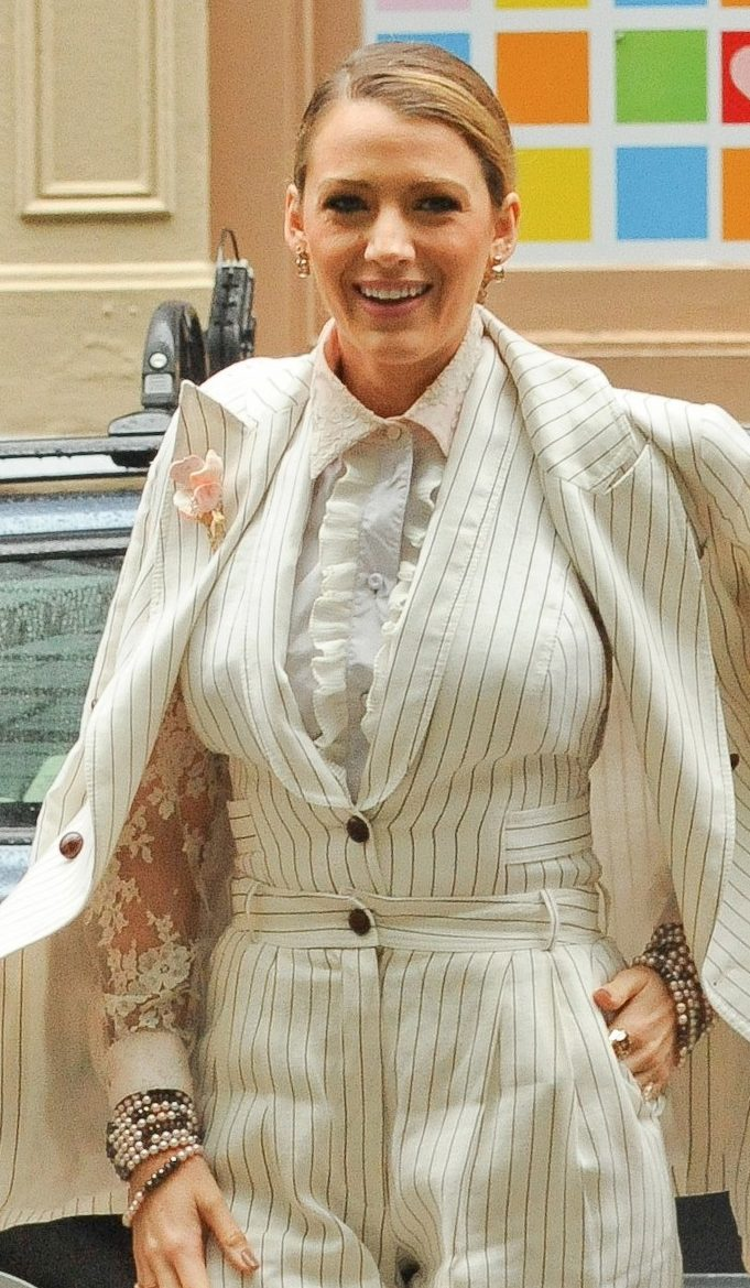 Blake Lively Wears Elvis' Pantsuit While Promoting 'A Simple Favor' image