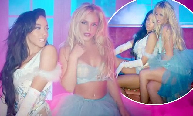 NOT A GIRL...Watch Britney Spears Kiss Tinashe in Her SLUMBER PARTY Video image
