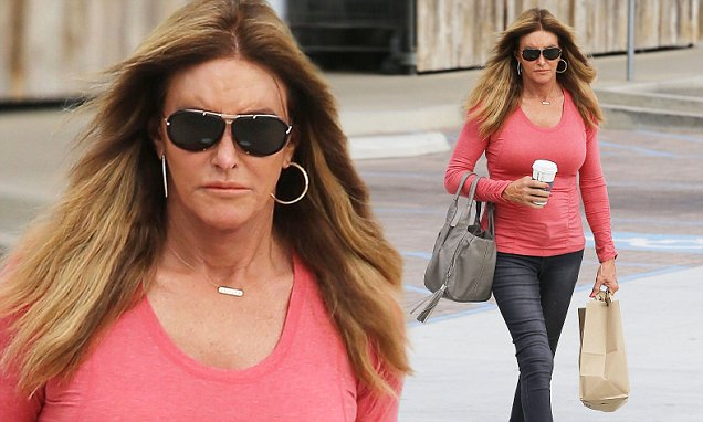 Caitlyn Jenner Shows Off Figure in Skin-tight Coral Sweater Paired With Jeans