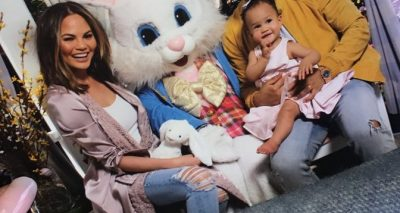 Chrissy Teigen's Daughter Meets Big-Eyed Easter Bunny