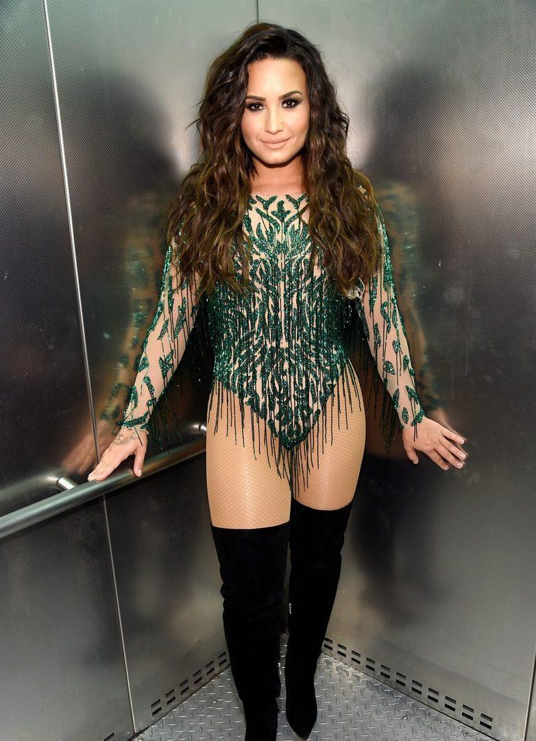 Demi Lovato is a GREEN BODYSUIT Lady in Vegas