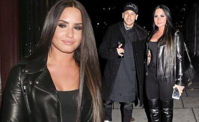 Demi Lovato Attends a Soccer Game Wearing ALL-BLACK, Hangs Out With Brazilian Soccer Star