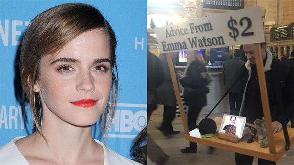 Emma Watson Gives Advice at GRAND CENTRAL STATION For $2! image