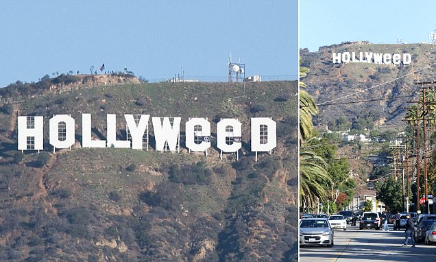 Prankster Changes Famous'HOLLYWOOD' Sign to'Hollyweed'