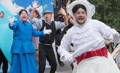 James Corden as 'Mary Poppins' on CROSSWALK The Musical With Ben Kingsley!