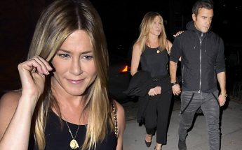 Can't Hide Her Grin: Jennifer Aniston Holds Tight On Husband Justin Theroux in Wake of Brangelina Divorce Scandal