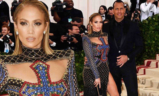 Jennifer LOPEZ Covers Breasts With Bedazzled CRUCIFIX at Met Gala image