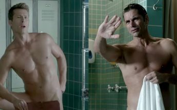 John Stamos and Glen Powell Naked For SCREAM QUEENS Promo