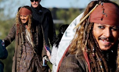 Johnny Depp Wears DRAG on Disneyland Ride!