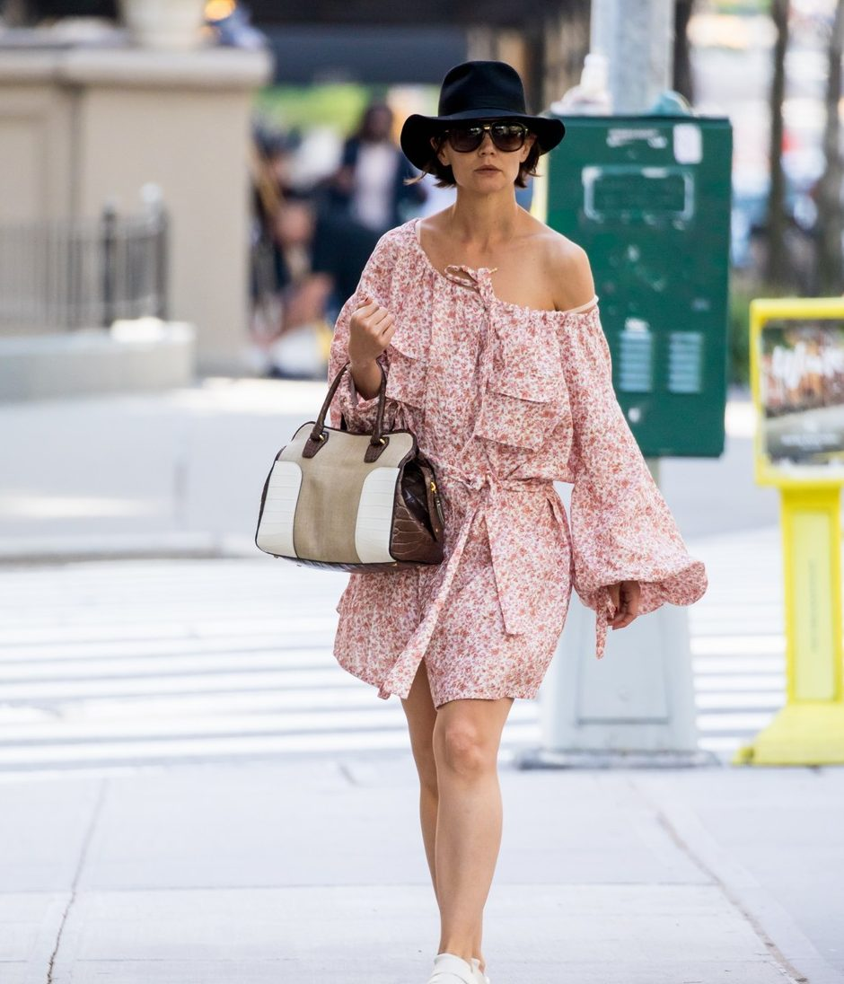 KATIE HOLMES Wears Lop-Sided Dress in NYC! image