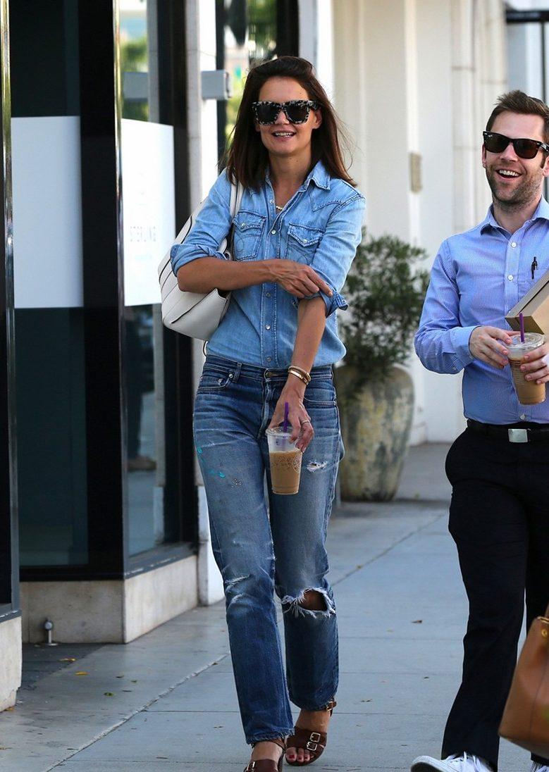 Katie Holmes is a DENIM-ON-DENIM Girl in Beverly Hills!