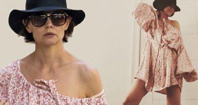 KATIE HOLMES Wears Lop-Sided Dress in NYC!