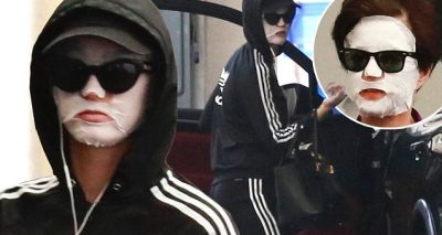 Katy Perry Wears a White Mask After Leaving Salon