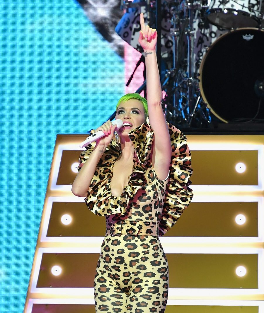 Katy Perry Sports Bright New GREEN Hair image