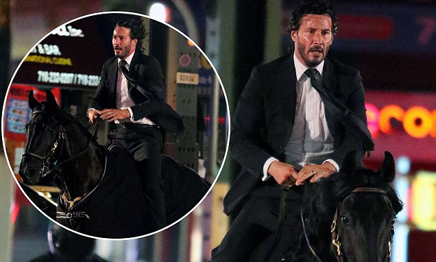 Keanu Reeves Riding a BLACK HORSE for 'John Wick 3' image