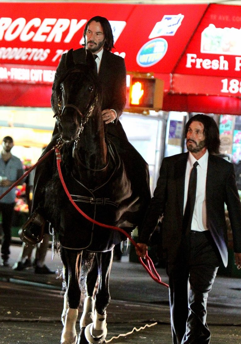 Keanu Reeves Riding A Black Horse For John Wick 3