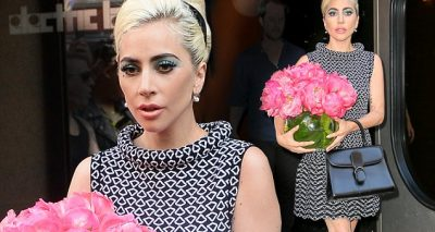 Lady Gaga Leaves Recording Studio With a BOUQUET Of Flowers