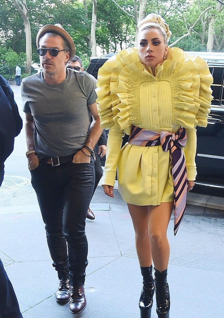 Lady Gaga Wears BRIGHT Yellow While Leaving Recording Studio image