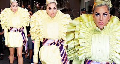 Lady Gaga Wears BRIGHT Yellow While Leaving Recording Studio