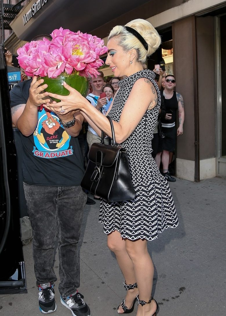 Lady Gaga Leaves Recording Studio With a BOUQUET Of Flowers image