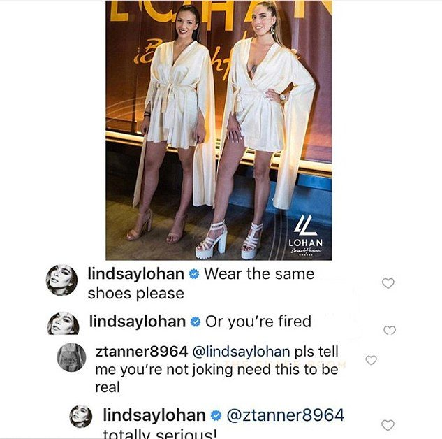 Lindsay Lohan Makes Staff Wear Matching Shoes or GET FIRED! image