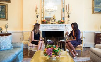 CLASS ACT: Michelle Obama and Melania Trump Sip Tea at The White House