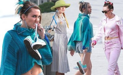 Miley Cyrus is a Beautiful Turquoise Lady During Shoot in Venice Beach