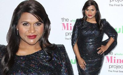 MINDY KALING Shows Off Baby Bump in a Little Black Sparkly Dress