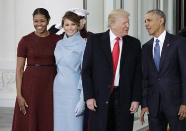 President Barack and Michelle Obama Greet Donald and Melania Trump at THE WHITE HOUSE