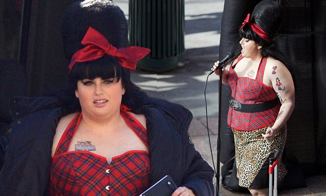 REBEL Wilson Dresses Up as Amy Winehouse for 'Pitch Perfect 3' Filming image