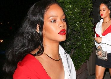 Rihanna Puts on Red LIP PAINT to Dinner!