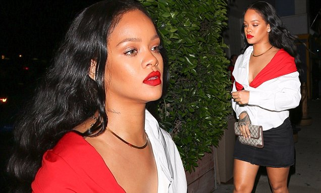 Rihanna Puts on Red LIP PAINT to Dinner! image