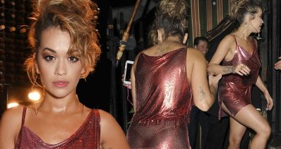 Rita Ora Parties Into The Night Wearing a TINY RED Dress!
