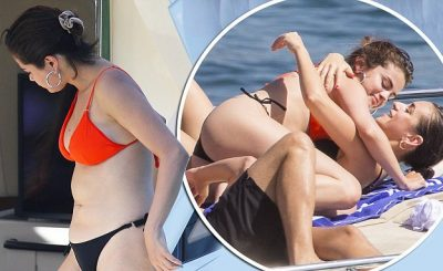 SELENA GOMEZ In an Orange Bikini! Eats Avocado
