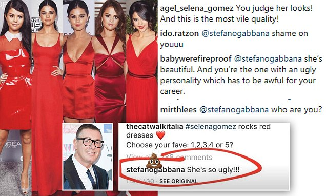 "Stylists Refusing to Use Dolce and Gabbana After They Called SELENA GOMEZ ""Ugly"""