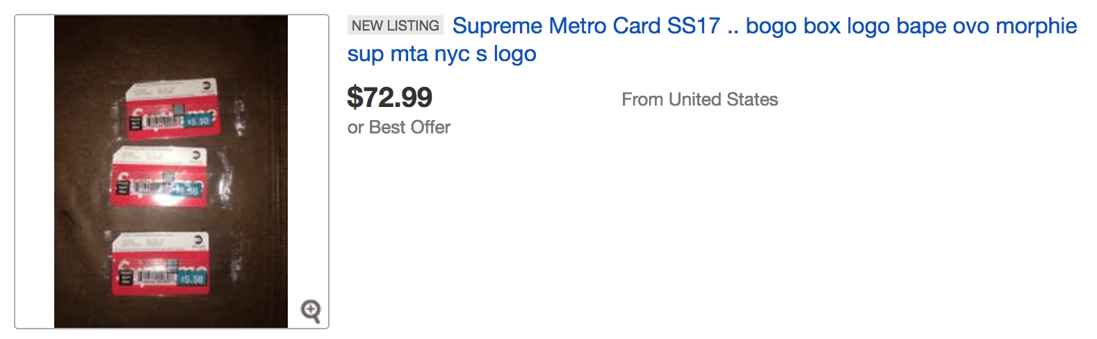 SUPREME NYC Metro Card Now Available on eBay image