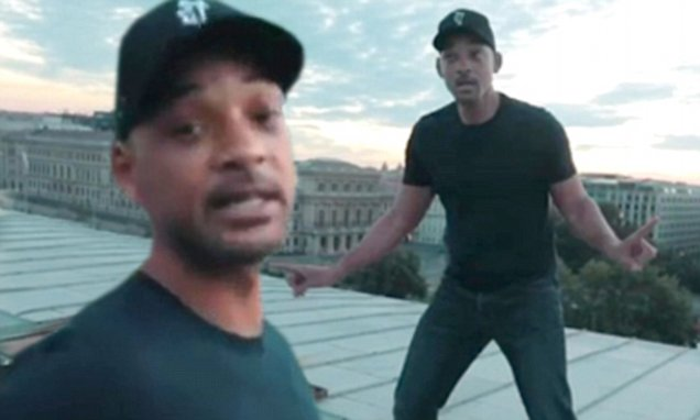 WILL SMITH Walks Along a Bridge for Drake's 'In My Feelings' Challenge! image